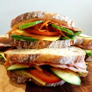 Organic salad rolls and sourdough sandwiches